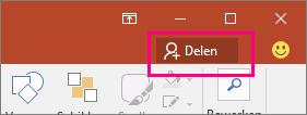 Toont de knop Delen op het lint in PowerPoint 2016
