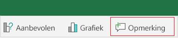 Een opmerking toevoegen in Excel voor Android