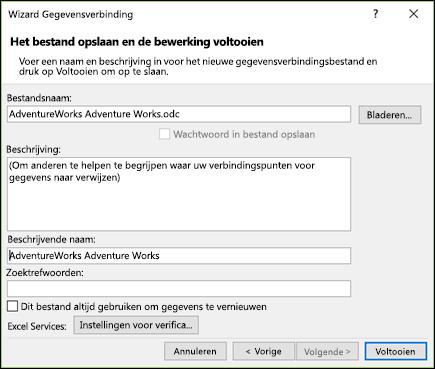 Wizard Gegevensverbinding > gegevensverbindingsbestand opslaan en einddatum