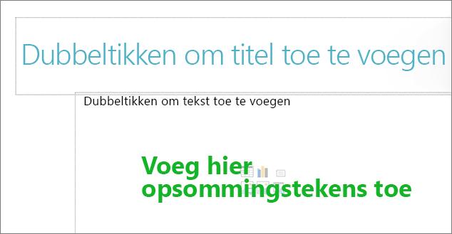 Afbeelding van leeg titelvak en leeg tekstvak om aan te geven waar opsommingstekens werken.