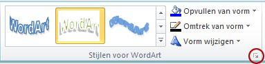 Het startpictogram voor het dialoogvenster WordArt-stijlen