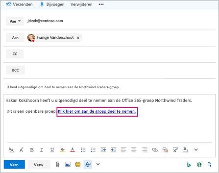 Een e-mail met de koppeling die u uitnodigt gebruiker deel te nemen aan de groep
