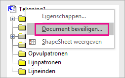 Document beveiligen in Tekeningverkenner in Visio 2016
