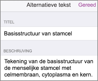 Dialoogvenster Alternatieve tekst in iPhone.