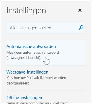 Schermopname van het Help-scherm met Automatisch beantwoorden geselecteerd.