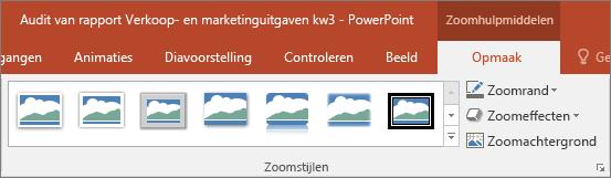 Hiermee worden verschillende zoomstijlen en -effecten weergegeven die u kunt selecteren op het tabblad Opmaak in PowerPoint.