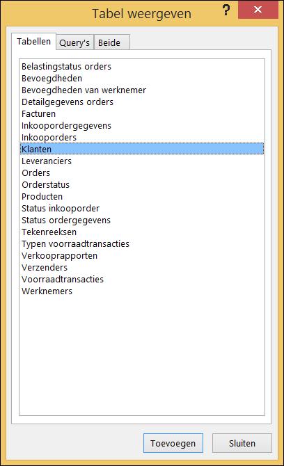 Dialoogvenster Tabel weergeven in Access waarin tabelnamen worden weergegeven