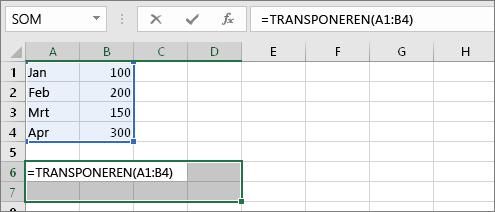 =TRANSPONEREN(A1:B4)