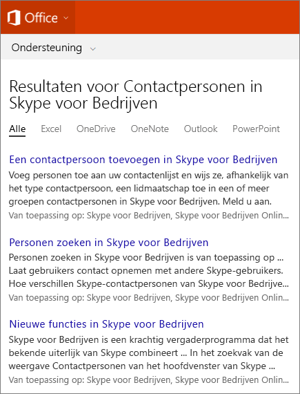 Schermafbeelding van de resultaten van een zoekopdracht naar Skype voor bedrijven-contactpersonen op de site van Office-ondersteuning.