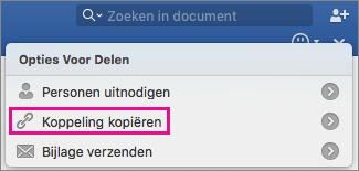 Klik op Koppeling kopiëren om een koppeling voor het document naar het Klembord te kopiëren.