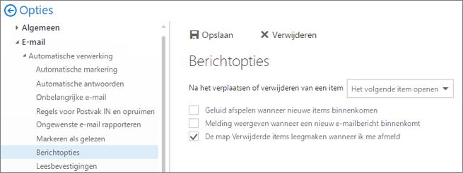 Een schermafbeelding toont het dialoogvenster Berichtopties waarin het selectievakje is geselecteerd voor het legen van de map Verwijderde items wanneer ik mij afmeld.