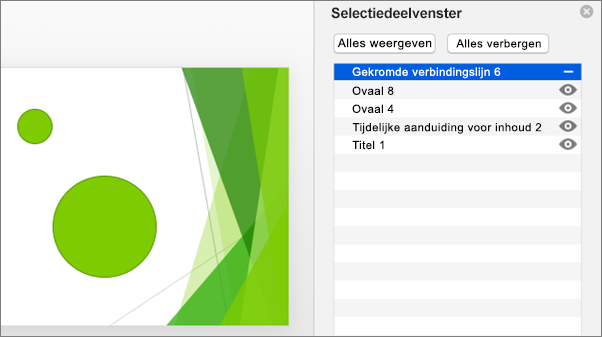 Geeft de functionaliteit verbergen weer in het selectiedeelvenster van Office 2016 voor Mac