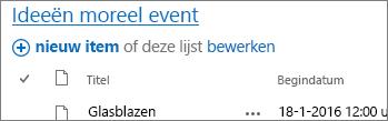 Lijst Webonderdeel met pijl die naar de titelkoppeling wijst.