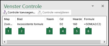 In Venster Controle kunt u makkelijk formules volgen die in een werkblad worden gebruikt