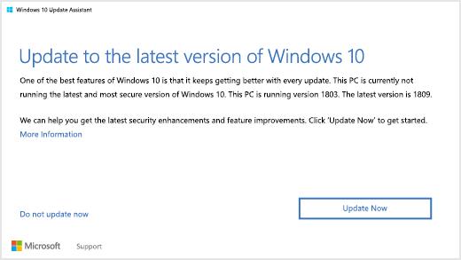 Windows 10 versie 1809 dialoogvenster waarin de gebruiker op 'Update naar de nieuwste versie van Windows 10'
