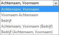 Outlook-opties voor personen, met opties voor de weergavevolgorde voor Archiveren als.