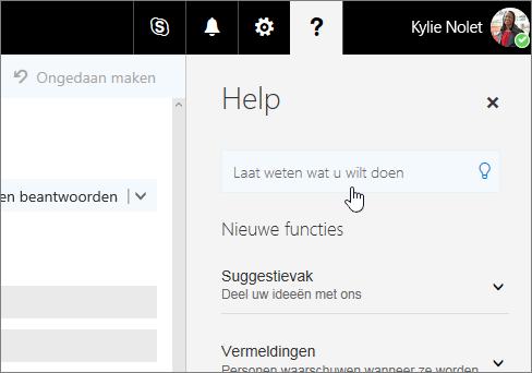Schermopname van het Help-venster in de webversie van Outlook, met het vak Uitleg.