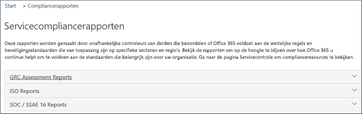 Toont de pagina Servicecontrole: Servicecompliancerapporten.