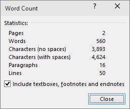 Toont het aantal woorden, het aantal pagina's in een document.