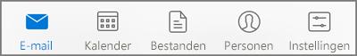 Een pictogram selecteren om uw e-mail, agenda, personen (contactpersonen), bestanden of instellingen te bekijken
