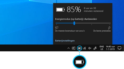 Accustatus op de Windows 10-bureaubladtaakbalk.