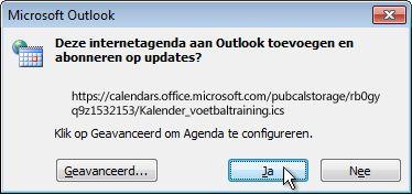 Volledige internetagenda die moet worden toegevoegd aan Outlook-dialoogvenster