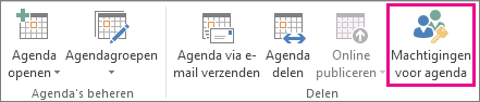 Knop Machtigingen voor agenda op het tabblad Start in Outlook 2013