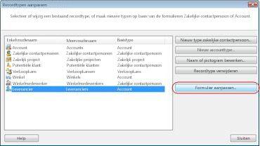Het dialoogvenster Recordtypen aanpassen in de database van het voorbeeldbedrijf, waarin het recordtype Leverancier is geselecteerd.