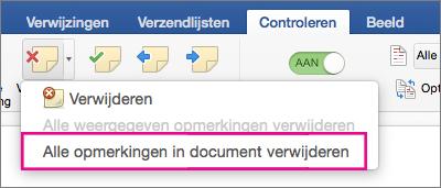Op het tabblad Controleren is de optie Alle opmerkingen verwijderen gemarkeerd