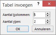 Hiermee wordt het dialoogvenster Tabel invoegen in PowerPoint weergegeven