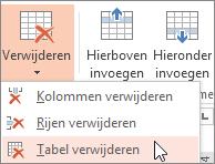 Een tabel verwijderen