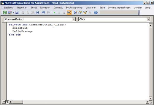 een subprocedure in de visual basic editor