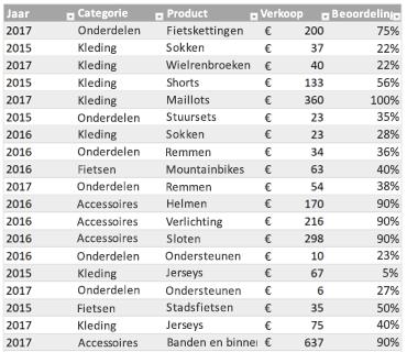 Voorbeeld Excel-tabel