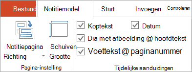Tijdelijke aanduiding voor selectievakjes op het tabblad notitiemodel