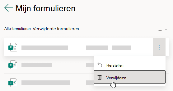 Een formulier verwijderen op het tabblad Verwijderde formulieren van Microsoft Forms.