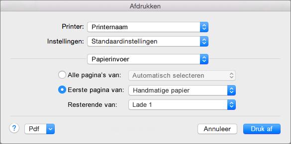 Wanneer u Papier selecteert in het dialoogvenster Afdrukken, kunt u papierbronnen selecteren.