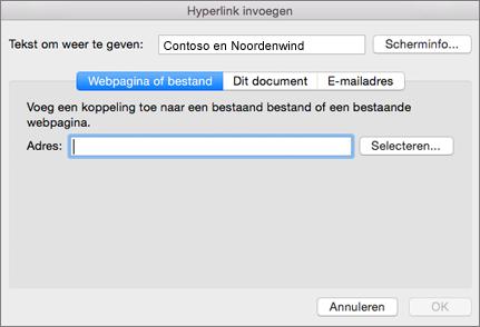 De opties voor het invoegen van een hyperlink naar een webpagina, een e-mailadres of een document