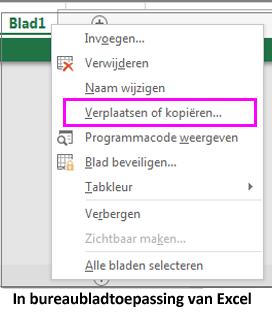 Optie om blad te kopiëren beschikbaar in bureaubladtoepassing van Excel