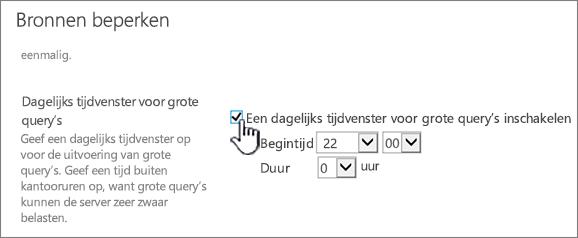 De Centraal beheer-pagina met toepassingsinstellingen waarop het dagelijks tijdvenster is gemarkeerd