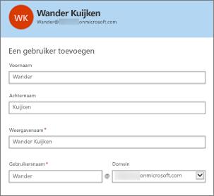De gebruikersnaam en het domein zijn het gebruikers-id voor Office 365.