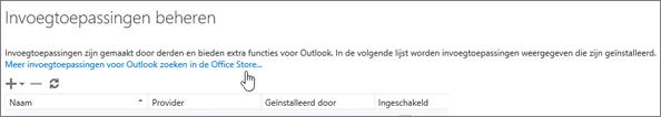 Schermafbeelding van een sectie van de pagina Invoegtoepassingen beheren waarin de geïnstalleerde invoegtoepassingen worden weergegeven plus een koppeling voor het zoeken naar meer invoegtoepassingen voor Outlook in de Office Store.