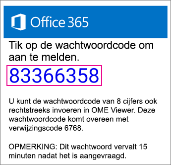 OME Viewer - e-mail met toegangscode
