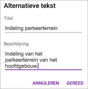 Alternatieve tekst toevoegen aan afbeeldingen in OneNote voor Android