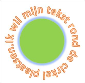 tekst die rondom een cirkelvorm is gebogen