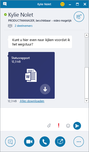 Schermafbeelding van een chatvenster met binnenkomende bijlage.