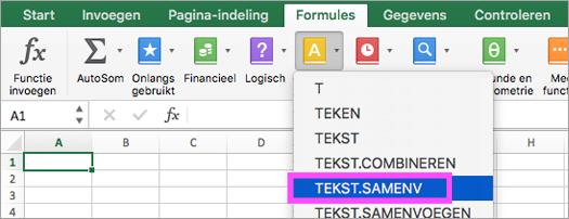 De functies TEKST.SAMENV en TEKST.COMBINEREN zijn beschikbaar in Excel.