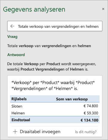 Ideeën in Excel beantwoorden een vraag over het aantal vergrendelingen of helmen.