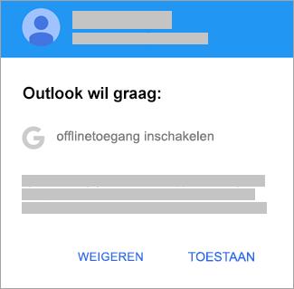 Tik op Toestaan om Outlook offlinetoegang te geven.