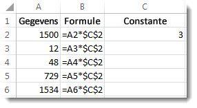Getallen in A, formule in kolom B met $-tekens en het getal 3 in kolom C