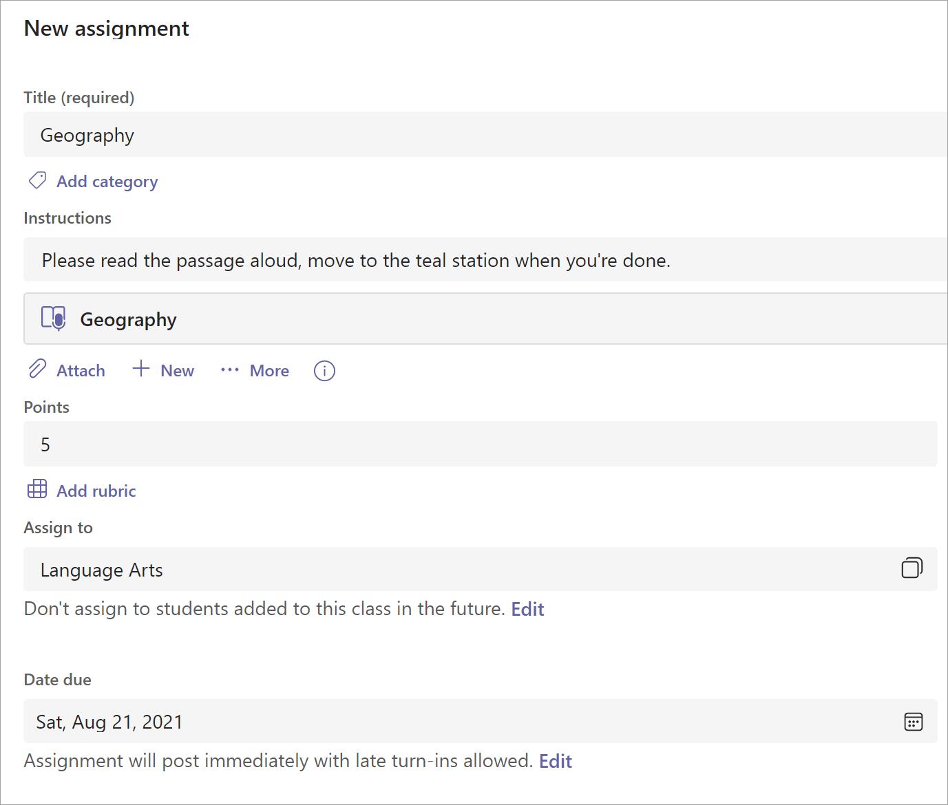 Screenshot van het maken van een nieuwe opdracht. Muis heeft op de vervolgkeuzelijst 'Alle studenten' geklikt om individuele studenten en groepen studenten weer te geven
